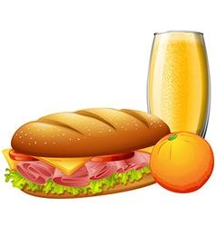 Sandwiches and orange juice vector