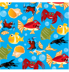 Sea inhabitants background vector