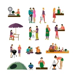 Set of people buying food and enjoying vector