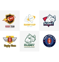 Set of vintage color rugby championship logos and vector image vector image