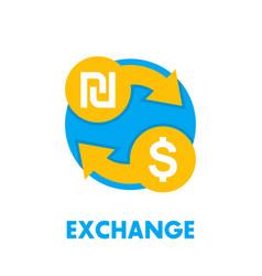 shekel to dollar exchange icon on white vector image