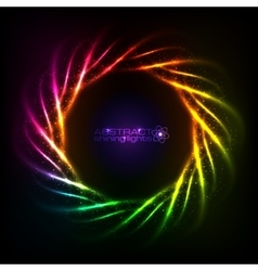 Shining neon rainbow lines cosmic frame vector image vector image