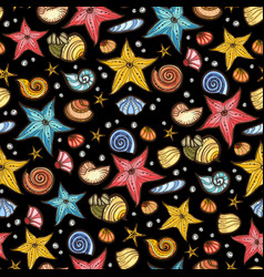 starfish shell seamless pattern vector image vector image