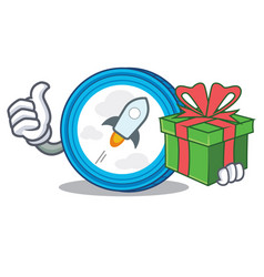 With gift stellar coin character cartoon vector