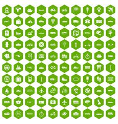 100 public transport icons hexagon green vector