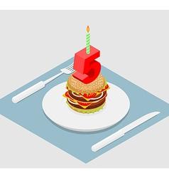 5 years birthday burger Hamburger and candle vector image