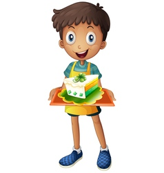 A boy holding a tray with a slice of cake vector