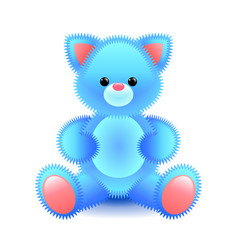 Cute blue cat soft toy isolated on white vector