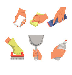 Hands with cleaning equipment vector