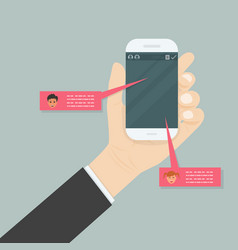Hand holding mobile phonesocial network vector