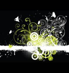 floral grunge butterflies vector image
