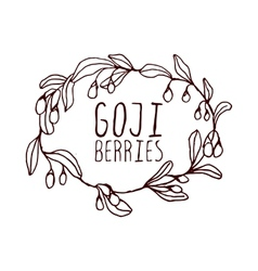 Goji berries hand-sketched typographic element vector