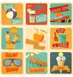 Set of retro stylized summer icons with vector
