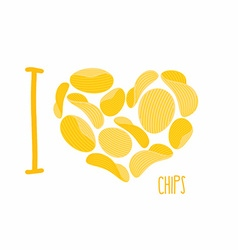 I love chips symbol heart of potato chips frying vector