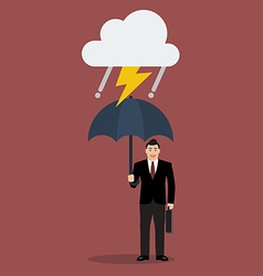 Businessman with umbrella in storm vector