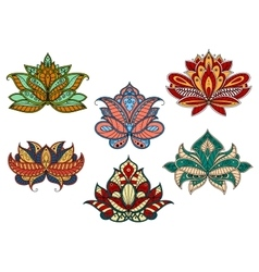 Paisley flowers with indian ethnic ornaments vector
