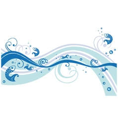 Fishes underwater border vector