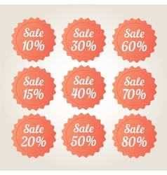 Orange sale badge stickers set vector