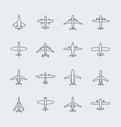 aviation thin line icons and linear aircraft vector image
