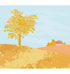 Beautiful autumn rural landscape vector