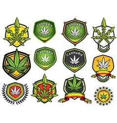 Cannabis marijuana hemp leaf symbol stamps vector