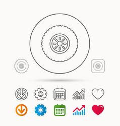 Car wheel icon tire service sign vector