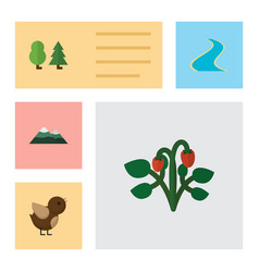 Flat icon natural set of peak forest tributary vector