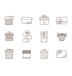 Gift Boxes Outline Set vector image vector image