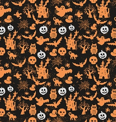 Halloween seamless pattern on an black background vector image vector image
