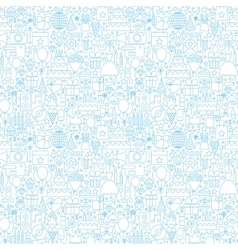 Line Birthday White Seamless Pattern vector image vector image