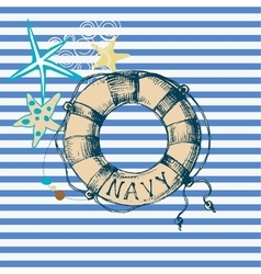 Marine background lifebuoy frame vector image