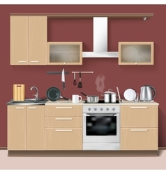 Realistic Kitchen Interior vector image vector image