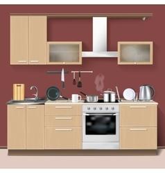 Realistic kitchen interior vector