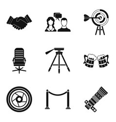 Reunion icons set simple style vector