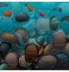 Sea water and pebbles stones vector