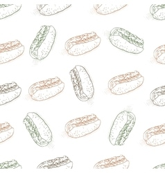 seamless pattern color hot dog scetch vector image