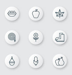 Set of 9 gardening icons includes ovum fire tube vector