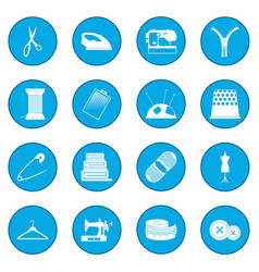Sewing icon blue vector