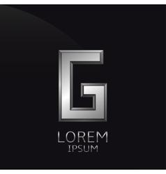 Silver g letter emblem vector