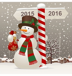 Snowman in a red scarf vector image vector image