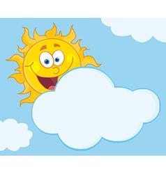 Sun Mascot Cartoon Character Hiding Behind Cloud vector image vector image