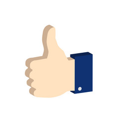 thumb up symbol flat isometric icon or logo 3d vector image