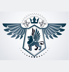 vintage emblem made in heraldic design and vector image vector image