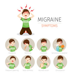 young man with migraine symptoms icons set vector image