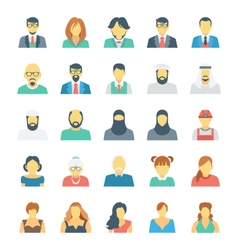 People avatars colored icons 2 vector