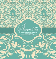 Blue damask card vector