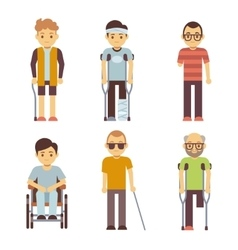Disabled people set old and young invalid vector