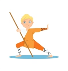 Boy in shaolin monk orange clothes with a pole on vector