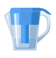 Water jug with filter cartridge icon in cartoon vector