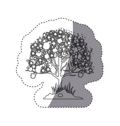 Sticker silhouette leafy tree with ramifications vector